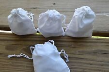 Cotton Double Drawstring White Muslin Bag. 3.25 x 5 Inches. High Quality Bag-100