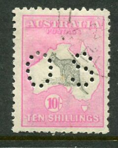 AUSTRALIA Kangaroos....  3rd watermark  10/- grey and pink  OS  used