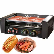 Hot Dog Grill Machine Commercial Electric Hot Dog 7 Roller No Cover Black