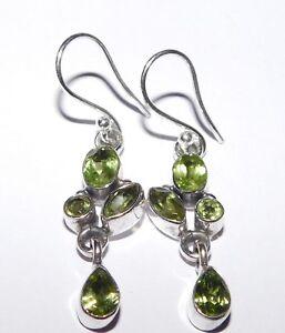 4.20 Gm Natural Peridot Earrings Fine earrings 925 Solid Sterling Silver i-2508