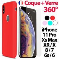 Coque pour iPhone 6 - 7 8 Plus Xr Xs MAX X 11 Pro Ultra Slim + Film Verre trempé