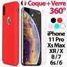 Coque pour iPhone 6 - 7 8 Plus Xr Xs MAX X 11 Pro Ultra Slim + Film Verre trempé