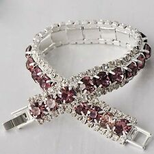 Fashion Jewellry Womens White Gold Filled/Silver purple Gemstone Tennis Bracelet