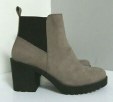 DIVIDEND H&M GREY BLACK FAUX SUEDE BLOCK SLIP ON ANKLE BOOTS 6 39 WORN ONCE ONLY