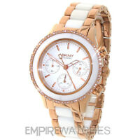 **NEW** DKNY LADIES CERAMIC CHRONOGRAPH ROSE GOLD WATCH - NY8825 - RRP £279.00