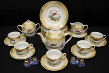 28pc PK Unity Germany BIRD Motif ORANGE Lusterware Tea Set w/Teapot Cups Saucers