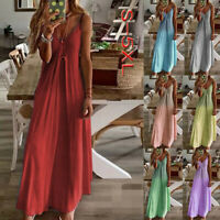 Womens Boho Summer Holiday Long Sling Dress Party Maxi Strappy Sundress UK Sizes
