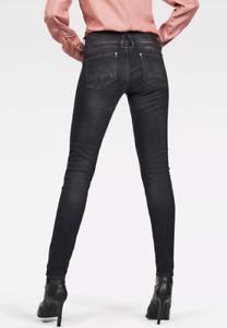 G-Star Raw LYNN Womens STRETCH Jeans Mid Rise W32 L32 DUSTY GREY Slim Skinny