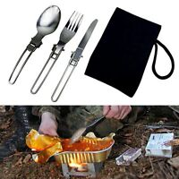 3pcs Stainless Steel Foldable Camping Spoon Fork Knife Flatware Utensil Set+Bag