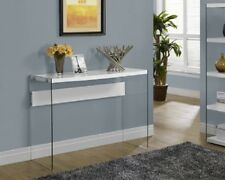 Modern Console Table Tempered Glass Sofa Hall Entry Living Room Glass Top White