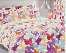 Butterfly Multi Coloured Double Bed Bright Duvet Cover Set Cream Cotton Rich New