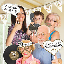 12 Happy Golden 50th Wedding Anniversary Party Fun Photo Booth Selfie Props