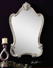 "Restoration Xxl 36"" Aged White French Victorian Detail Arch Wall Vanity Mirror"