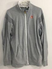ADIDAS Cotton Polyester Casual Track Jacket Gray Herringbone Large Lightweight