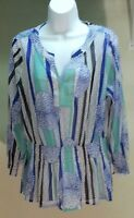NWT $59 Alfani Women's Multi-Color Floral 3/4 Sleeve Top Blouse Tunic Sz: L
