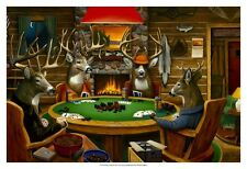 Deer Camp ists Art Poster Print by Leo Stans, 19x13