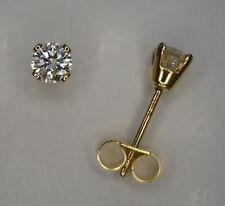 1/5CT GENUINE ROUND DIAMOND SOLID 9ct YELLOW GOLD 4 CLAW STUD EARRINGS  0.20ct