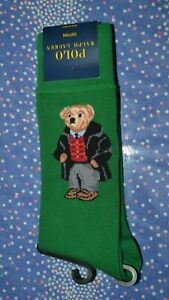 Polo Ralph Lauren Green Polo Bear Dress Socks 1 Pair Men's Sock Size: 10-13 NIP!