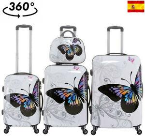 Maleta cabina equipaje mano rigida 4 ruedas 360º trolley mariposa juegos neceser