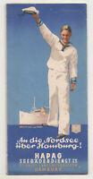 Hapag Folleto En La Mar Del Norte Acerca De Hamburgo Seebäderdienst Um 1935 (D8