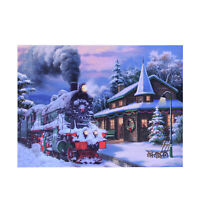 Multi Color Canvas 4 LED Train Christmas Painting Decor Gifts Wall Decoration