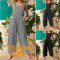 Womens Dungaree Strappy Jumpsuit Loose Overalls Bib Cargo Pants Summer Playsuits