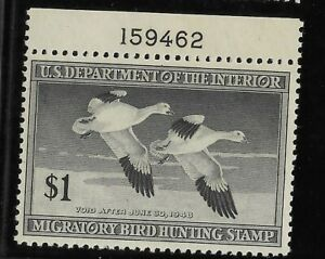 US Scott #RW14 mint never hinged $1 black 1947 Snow Geese Duck Stamp w/plate #