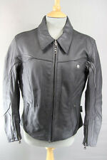 IXS LADY FASHION BLACK LEATHER BIKER JACKET WITH REMOVABLE CE ARMOUR 38 INCH