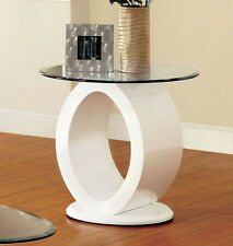 Contemporary Lodia White Black O-Shape High Gloss Lacquer Glass Top End Table