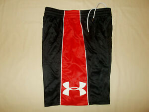 UNDER ARMOUR BLACK & RED ATHLETIC SHORTS BOYS LARGE EXCELLENT CONDITION