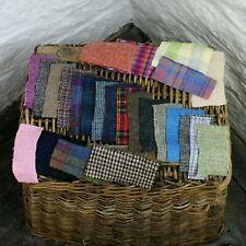 25x Harris Tweed Scraps Pieces 100% Wool Remnant Offcut Broach Craft *15CM x 8CM