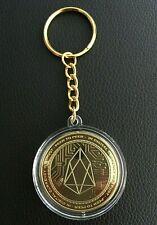 24k Gold Plated EOS Crypto Coin Keychain, EOS Key Ring Crypto Novelty Coin