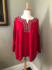 Catherines Red Blouse W/ Embroidery Details & Pee-A-Boo Sleeve 3X