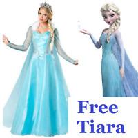 Frozen Elsa Fancy Dress Costume Gown Adult cloak outfit  Free Tiara UK STOCK