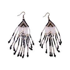 Multicolor DROP EARRINGS Seed Bead Fringe, Black White Silver-Tone New $28