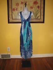 NWT  Turquoise Blue Floral Lace Cheetah Paisley Hi-Lo Maxi Dress Size L
