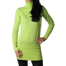 Damen Rollkragenpullover Rollkragen Pullover lang rolli hellgrün Neu 32-36