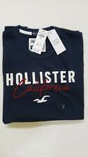 HOLLISTER Men's Applique Logo Graphic T-Shirt Short Sleeve NEW BLUE RED WHITE