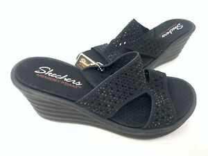 NEW! Skechers Women's RUMBLERS WAVE IBIZA SUMMER Sandals Black #31778 200AB z