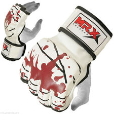 MMA Gloves Grappling Glove UFC Cage Boxing Fight muay thai kick Blood White, XL