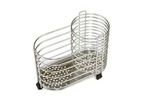 Silver Stainless Steel Cutlery Holder & Kitchen Utensil Pot Cylinder Wire Holder