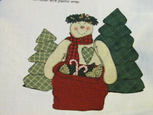 """""""Ike"""" Snow Doll and SnowDoll with Christmas Tree Cut and Sew Fabric Panels AJ129"""