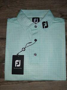 NEW FootJoy Mens Lisle Plaid Golf Polo Medium Mint 26170