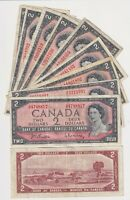 Canada $2 (1954) (Beattie/Rasminsky)- Circulated Notes   ✹LC L11✹