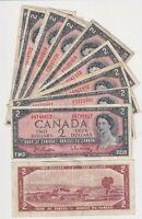 Canada $2 (1954) (Beattie/Rasminsky)- Circulated Notes   ✹LC L11✹