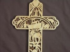 Noah's Ark Biblical Art  Scrolled Wooden Cross Wall Hanging Amish Made