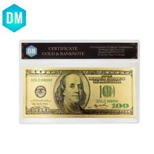 24k Gold Banknote USD 100 Dollar American Bill Note Collection Home Office Decor