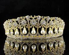 Princess Pearls Austrian Crystal Rhinestone Tiara Crown Bridal Prom Wedding T25g