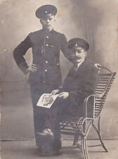 1909 Handsome young man & father military family fashion Russian antique photo