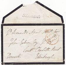 * 1837 ST LEONARDS CROWN FREE PMK MOURNING COVER TO JOHN GIBSON IN EDINBURGH